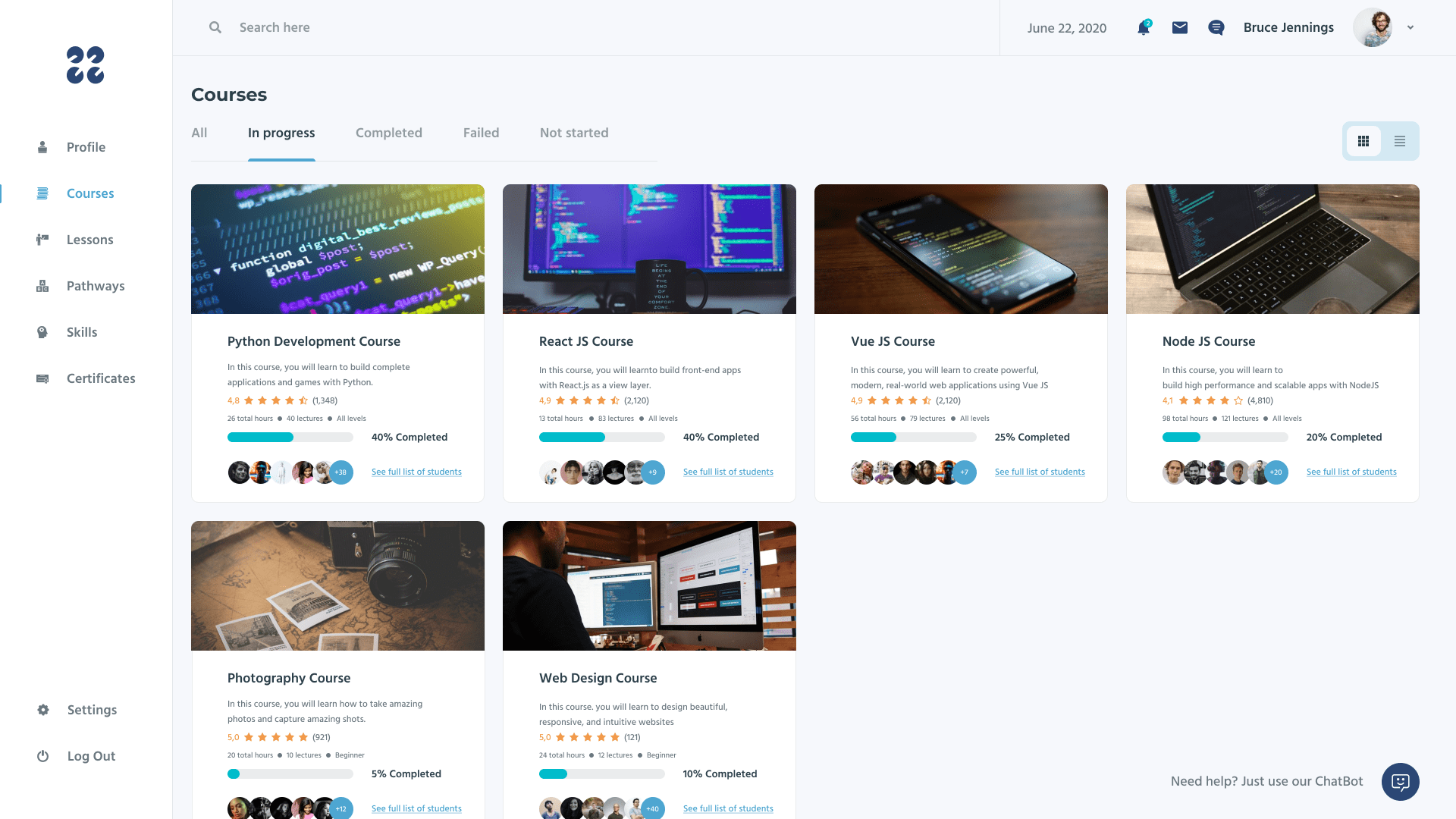 Courses page