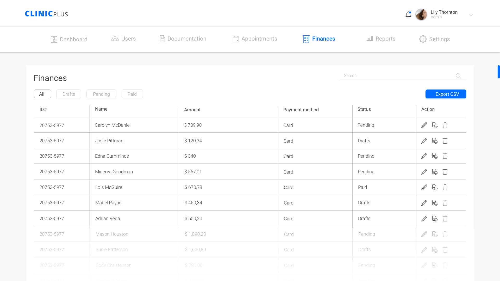 Finances page