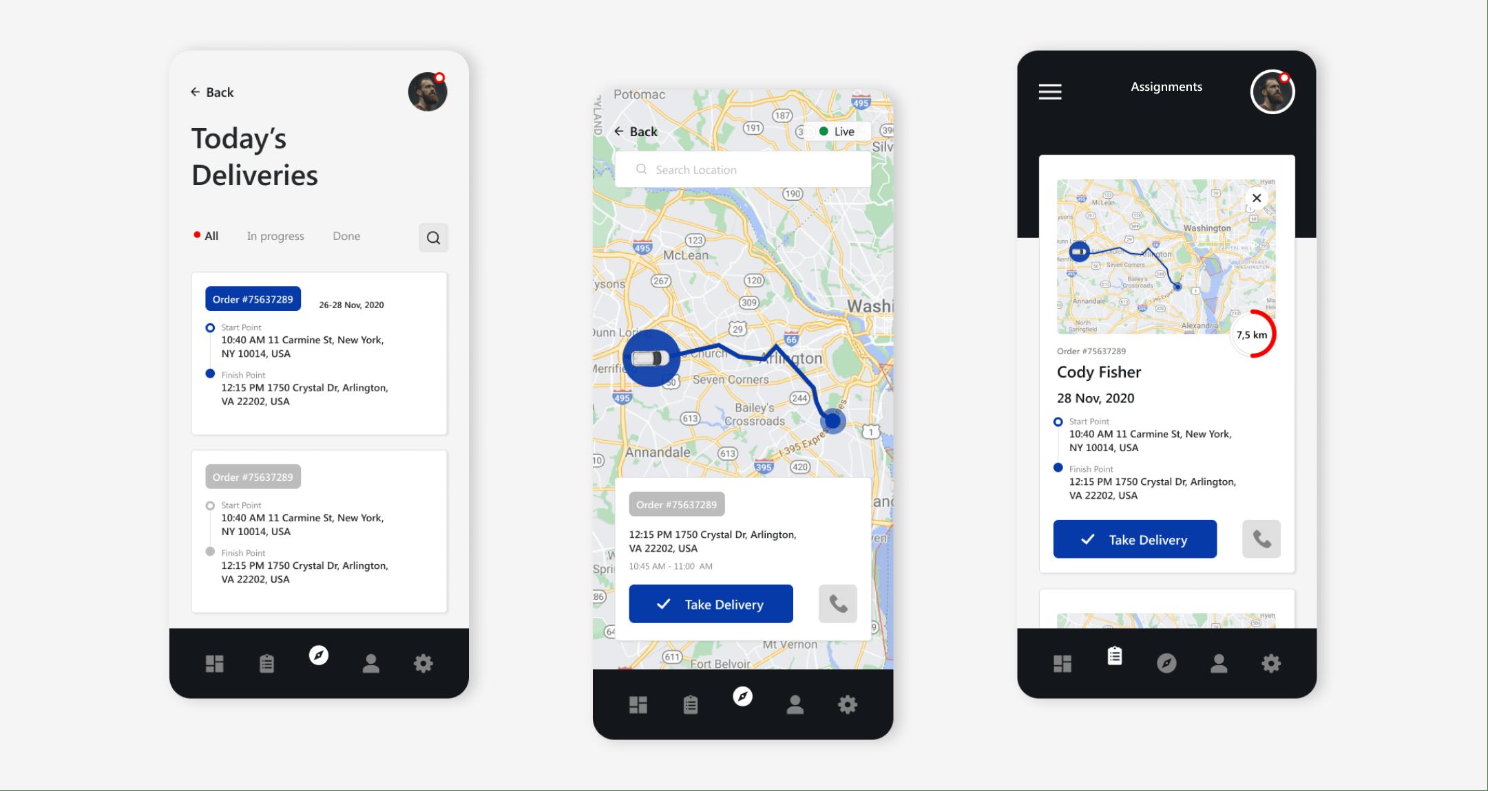 mobile version of the fleet management system