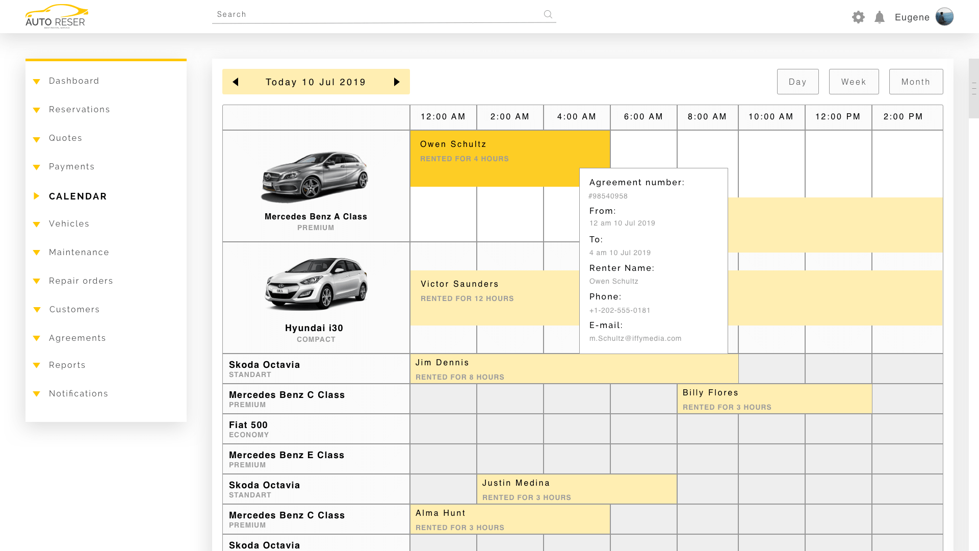 calendar for booking cars