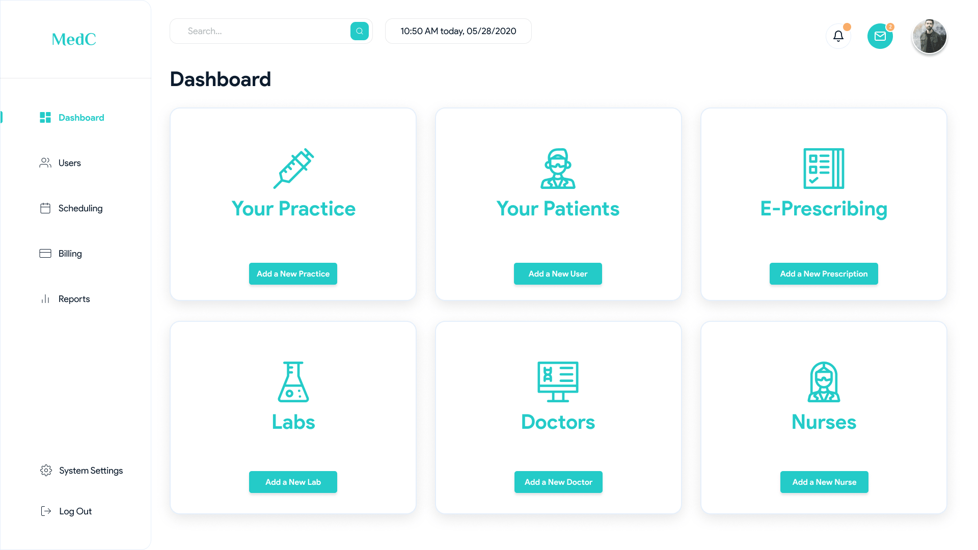 Admin Dashboard in EHR system
