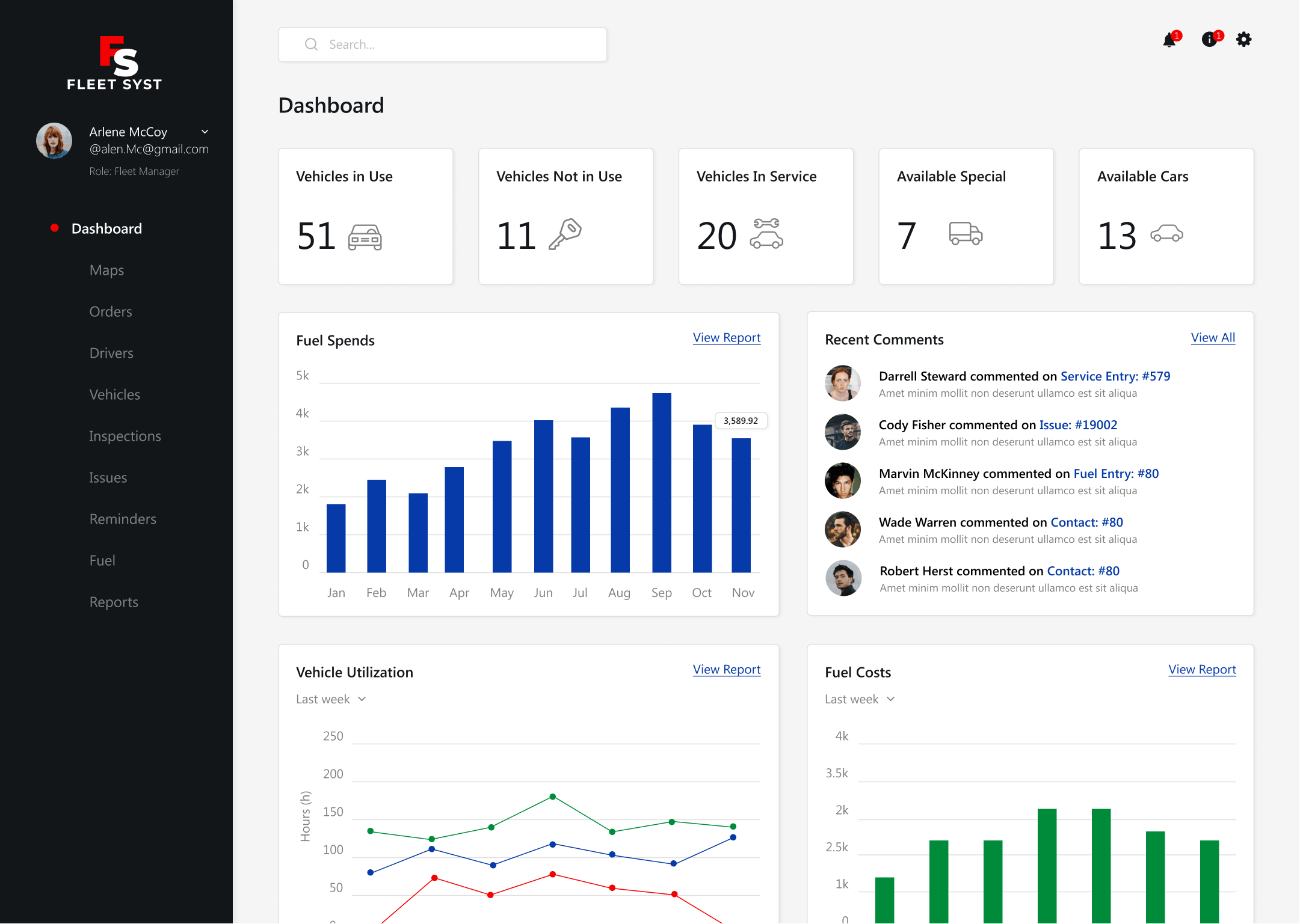 dashboard of the Fleet Manager Module