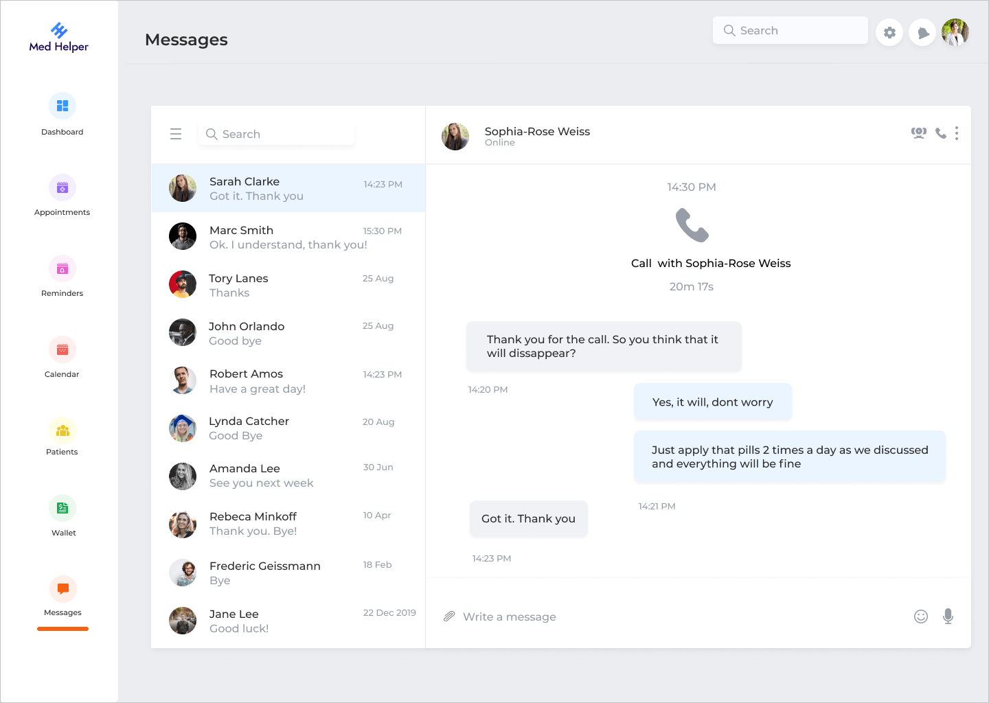 Messages feature
