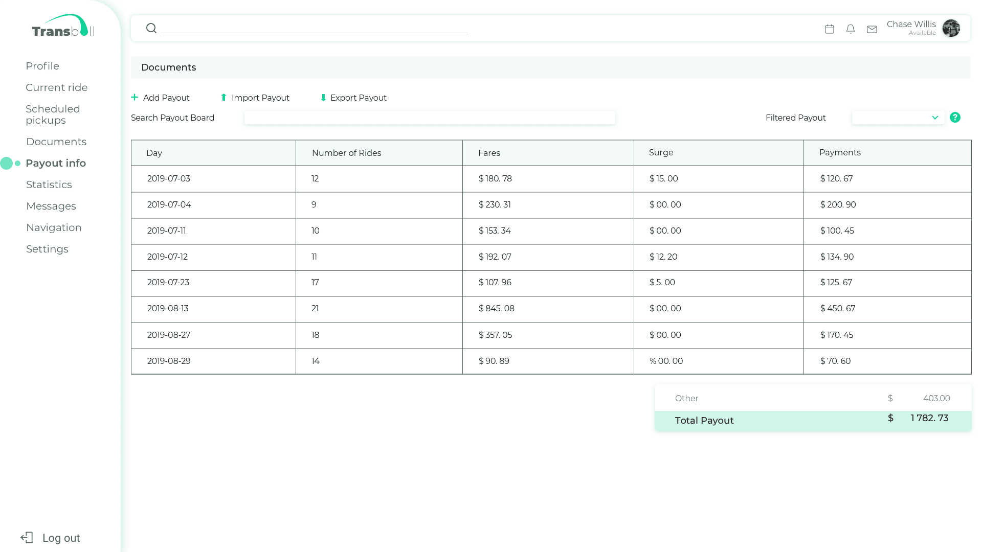 Payout info page
