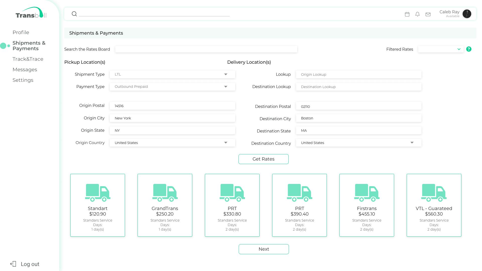 shipments details