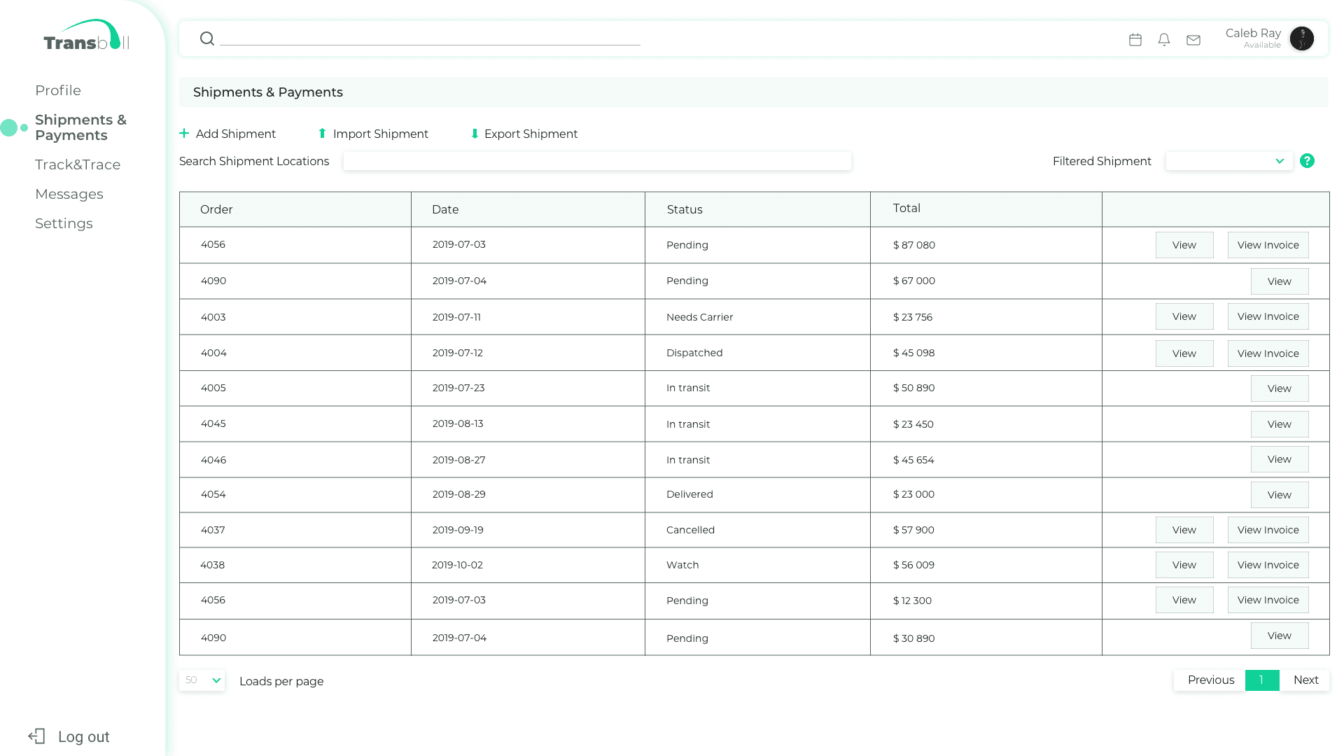 Shipments and Payments page