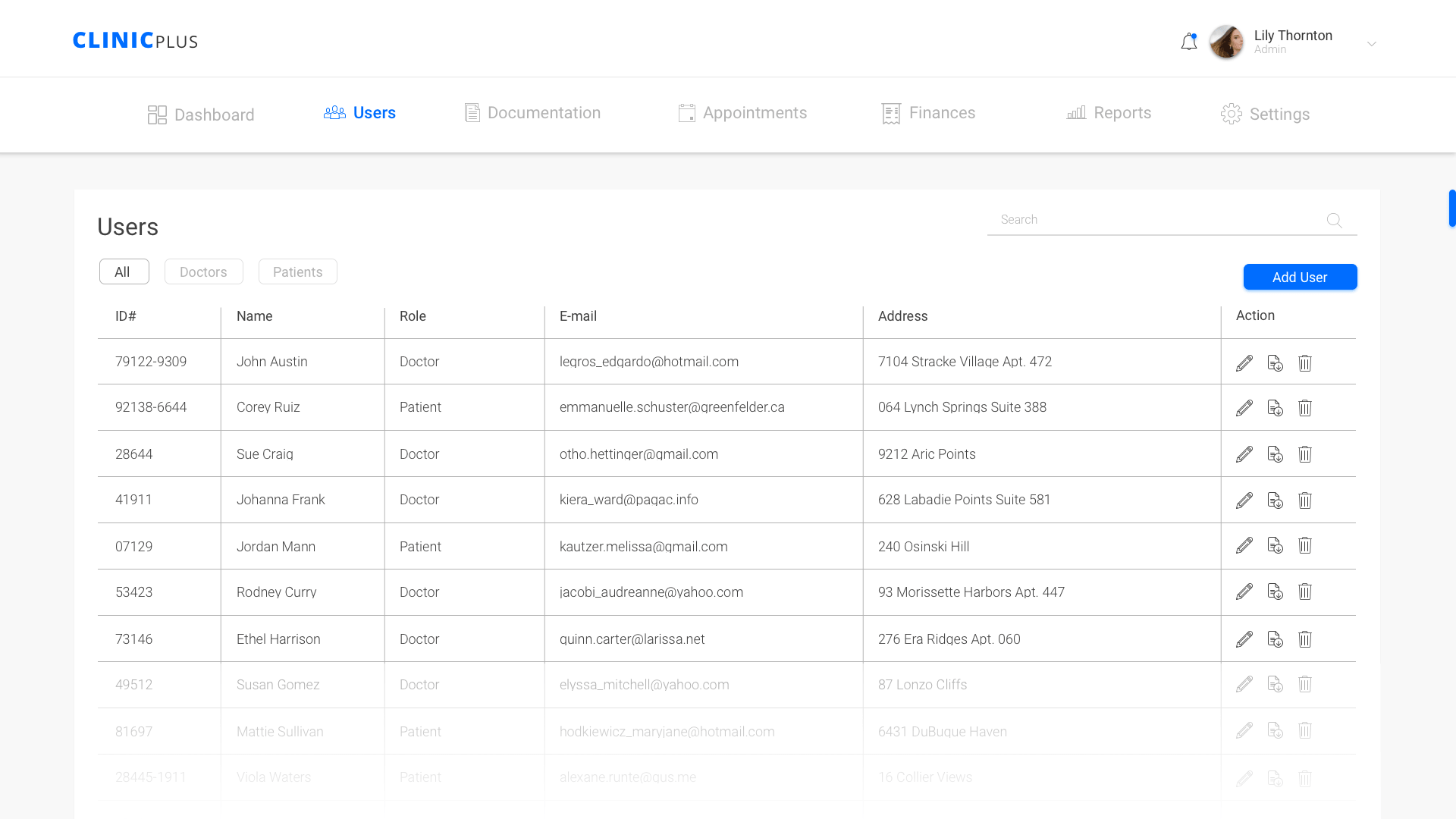 users page